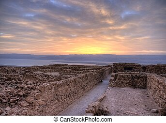 Masada fortress and Dead sea sunrise in Israel judean desert...