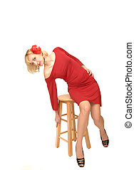 Sitting blond lady in red