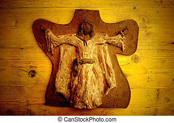 Vintage Jesus card - clay jesus card on wooden background