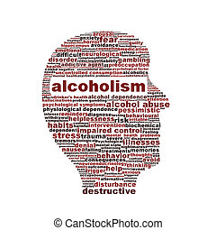 Alcoholism medical symbol isolated on white. Alcohol...
