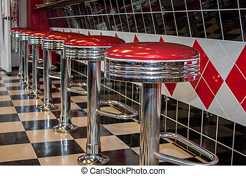 Classic Diner Bar Stools - Classic 50s style bar stools in...