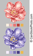 hand drawn - beautiful flower bouquet design with Simple...