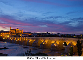 old town at night Cordoba, Spain - old cathedral and roman...