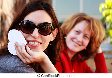 two beautiful girls outdoor