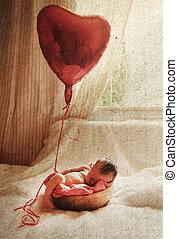 Newborn baby. Photo in old image style.
