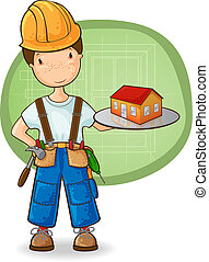 The builder holding small house - Cartoon illustration of...