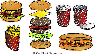 Fast food illustrations rough sketchy hand-drawn look
