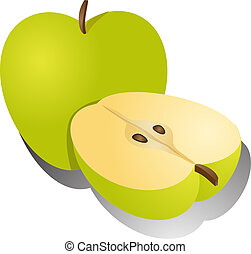 Apple illustration whole and half cross-section isometric...