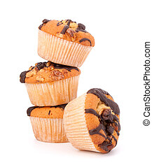 muffins - Stacked muffins isolated on white background