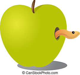 Apple with worm - Apple with a worm coming out illustration