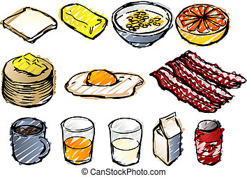 Breakfast sketch - Breaksfast clipart illustrations done in...