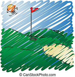 Golf course - Sunny golf course rough sketchy illustration,...