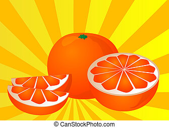 Cut orange illustration of orange cut into half and sections