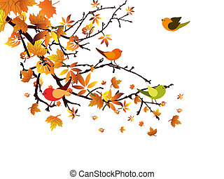 Autumnal branch - Vector illustration of colorful leaves and...