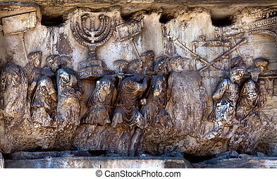 Fragment of the Arch of Titus at the Roman Forum - Fragment...