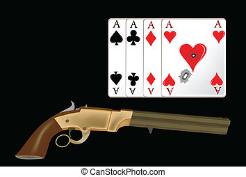 cards and weapon - poker cards with revolver