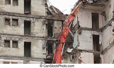 demolishing  timelapse - demolition of old buildings