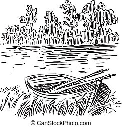 Boat with oars near the shore. Vector illustration.