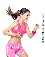 Running fit sport woman in profile