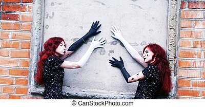 split personality, a portrait of black and white mime