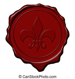 Royal sign wax seal - Red royal lily sign wax seal used to...
