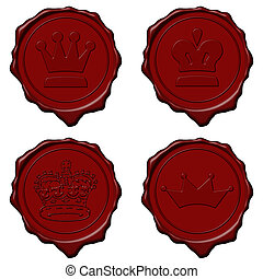 King crown wax seal collection - Red royal crown wax seal...
