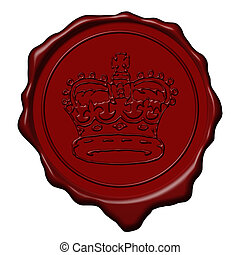 King crown wax seal - Red royal crown wax seal used to sign...