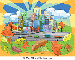 autumn city - illustration city street in autumn leaf fall