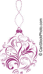 Ornamental lilac Christmas ball. Vector illustration