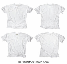 Blank white t-shirts - Photograph of two wrinkled blank...