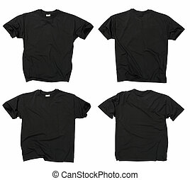 Blank black t-shirts - Photograph of two wrinkled blank...