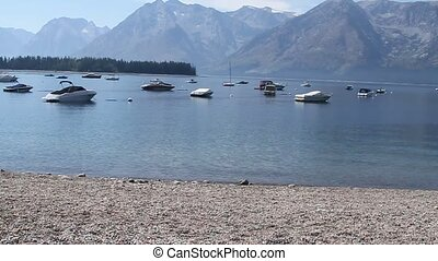 Boats in jackson lake