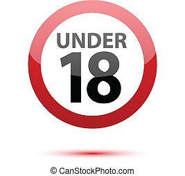 Under eighteen sign on white background