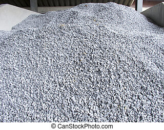 Pile of construction gravel in store