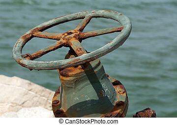 old large valve coated corrosion