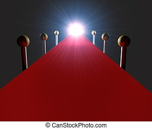 Empty red carpet with bright light - 3d render of an empty...