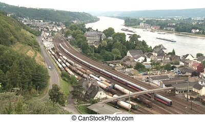 Train near by a river (Rhine)