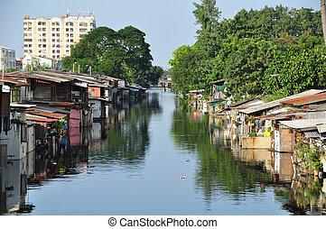 Khlong Prem Prachakon Canal,Bangkok,Thailand - The...