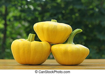 three patty pan squashes - three freshly harvested patty pan...