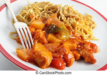 Chicken sweet and sour with fork