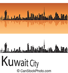 Kuwait City skyline in orange background - Kuwait city...
