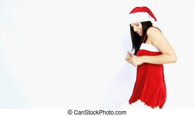 beautiful santa claus dancing happy