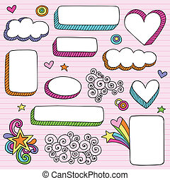 Notebook Doodle Frames and Borders - Groovy Psychedelic 3D...