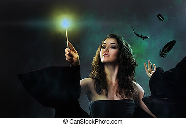 Halloween day - Young beautiful witch. Halloween day