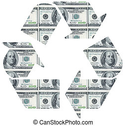 Recycle symbol on dollar bill background