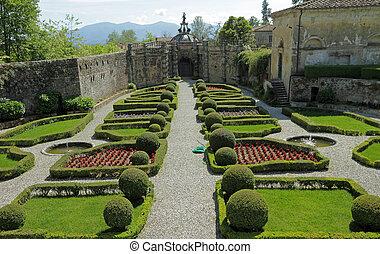 elegant italian garden of Villa Torrigiani near Lucca,...