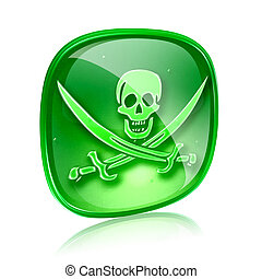 Pirate icon green glass, isolated on white background