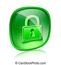 Lock icon green glass, isolated on white background.