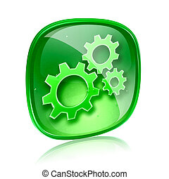 Tools icon green glass, isolated on white background