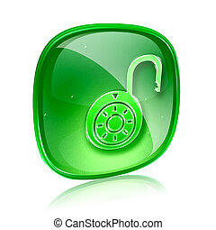 Lock on, icon green glass, isolated on white background.